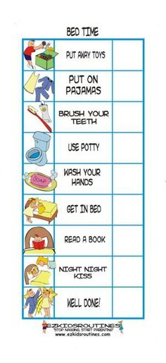Easy Routine. I would love to print this out and laminate it, that way kids could check off with dry/erase marker. One thing I would add is prayers.