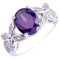 Empsoul Women 925 Sterling Silver Natural Fancy Filled 5-Stone... ($15) ❤ liked on Polyvore featuring jewelry, rings, topaz ring, sterling silver amethyst ring, stone jewelry, sterling silver jewellery and flower jewellery