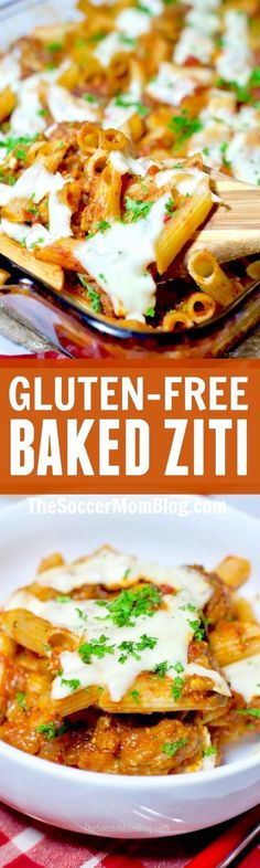 "This gluten free baked ziti is so flavorful that you might like it even better than the ""real thing!"" Can be made dairy free too! A healthier version of a comfort food classic. #glutenfree #pasta #recipe via @soccermomblog"