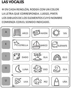 Resultado de imagen para ejercicios para identificar las vocales