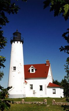 Point Iroquois Lighthouse, located on Point Iroquois near the confluence of Lake Superior and St. Mary's River--LHF-history