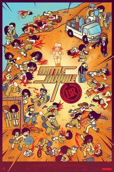 Cool Art: 'Battle Royale' by Bryan Lee O'Malley & Kevin Tong Bryan Lee O Malley, Poster Drawing, Pop Culture Art, Scott Pilgrim, Live Action, Poster Prints, Posters, First Night, Art Reference