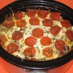 Crockpot Pizza--this would be great for church potluck dinners! :)
