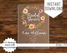Bridal Shower Printable Invitation Rustic Floral. Bridal Shower Invitation. Printable Invitation. Bridal Shower. Rustic Bridal Shower