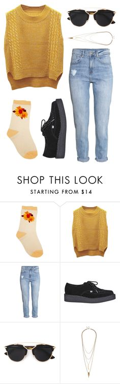 """""""Free As A Bird"""" by hey-im-macie ❤ liked on Polyvore featuring WithChic, H&M, T.U.K., Christian Dior, Lulu*s, vintage, indie, retro and artist"""