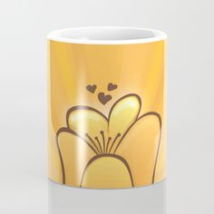 Tulip Mug - Tulip, tulips, two lips, flower, flowers, garden, gardening, floral, flora, gold, brown, hearts, love, sun rays, hybrid, cartoon, vector, art, design, illustration, drawing