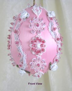 Satin Easter Egg Ornament EL113 by WhiteHawkOriginals on Etsy, $25.00