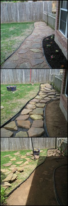 How To Build A Flagstone Pathway  http://theownerbuildernetwork.co/4xrj  Foot traffic wear patterns are the most common backyard problem. Making a flagstone pathway is the easy and inexpensive solution.