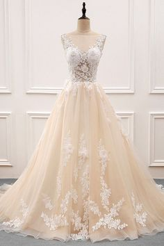 Charming Tulle & Organza Sheer Bateau Neckline A-line Wedding Dress With Lace Appliques & 3D Flowers & Beadings