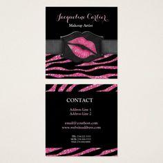 Elegant Pink Zebra Glitter Kiss Cosmetologist Square Business Card