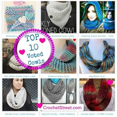 Top 10 Cowls crochet patterns for women from #Crochet Street Block Party #linkup | STOP searching and START making. Excellent for Christmas, you will love this collection.