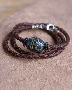 leather wrap with blue sapphires and turquoise bead
