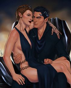 Rhys and Feyre at The Court of Nightmares by Cocotingo