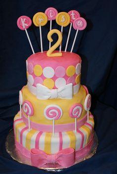 Lollipop themed birthday cake.  www.divinedessertstampa.com Themed Birthday Cakes, Birthday Cake Girls, It's Your Birthday, Birthday Parties, Birthday Ideas, Lollipop Birthday, Lollipop Cake, Candy Theme Cake, Theme Cakes