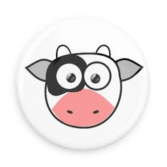 Funny Buttons - Custom Buttons - Promotional Badges - Cute Animals Pins - Wacky Buttons - Cow