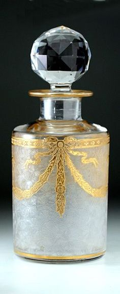 Glass Crystal Perfume Scent Bottle c.1900 Gold  Art Nouveau Design (etched/gilt)❤≻⊰✿⊱≺❤