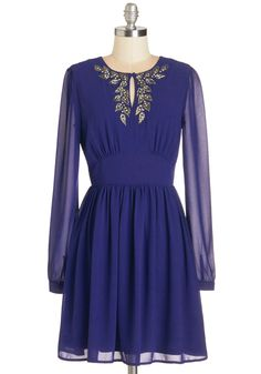 Best of the Festive Dress - Blue, Solid, Beads, Rhinestones, Party, Holiday Party, A-line, Long Sleeve, Woven, Mid-length
