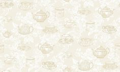 Teacups Cream - Coloroll Wallpapers - A pretty design with vintage tea cups and saucers, and teapot motifs overlaid on a decorative white damask design. Shown in the cream colourway, other colours available. Please request a sample for true colour match. Colorful Wallpaper, Wallpaper Ideas, True Colors, Colours, White Damask, Vintage Tea, Summerhouse Ideas, Tea Party, Paint Colors