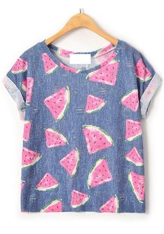 Blue Floral Short Sleeve Wrap Linen Cotton T-Shirt, I think this would be really cute with light wash overalls