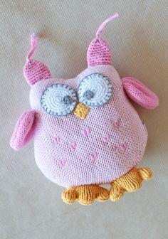 children's gift idea: Birdie The Owl Knit Rattle In Pink
