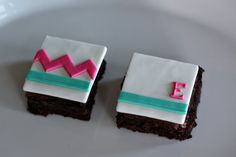 Fondant Chevron Stripe and Monogram Toppers for Decorating Brownies, Cupcakes, or Cookies