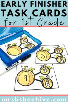 Give your students early finisher activities that are engaging and educational.  These task cards are meant to be done independently to help free up your teacher time for those students who need assistance!Help students increase addition skills with these kindergarten task cards.