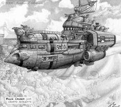 Very cool airship design, steampunk inspiration Pirate Cruiser by *Amarynceus on deviantART Steampunk Ship, Steampunk Kunst, Steam Art, Steam Punk, Random Image Generator, Steampunk Illustration, Flying Ship, Spaceship Design, Space Pirate