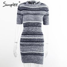 Simplee Blue striped knitted bodycon dress Autumn winter short sleeve girls dress Elegant evening party sexy dresses women