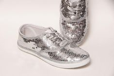 89bafe332c6d Sequin - Full CVO Princess Pumps Sparkly Sterling Silver Canvas Sneakers  Shoes with Satin Ribbon Lac