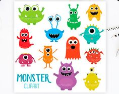 SILLY MONSTERS Clip Art: Digital Monster Clipart by MNINEDESIGNS