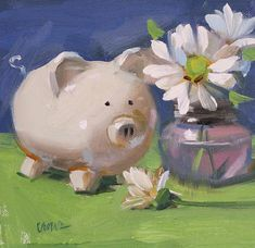 This Little Piggy by Judy Crowe - This Little Piggy Painting - This Little Piggy Fine Art Prints and Posters for Sale