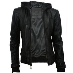 womens-black-leather-hooded-bomber-jacket