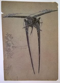 """Design for a hairpin, """"Two Swallows with Wheat"""" 1906-1908. Pencil, ink, watercolor on paper. Rene Lalique   """"The Jewels of Lalique by Yvonne Brunhammer, page 130."""