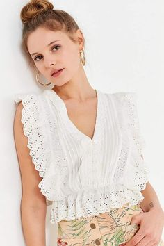 Slide View: UO Rami Pintuck Ruffle Top summer style, spring style, white tops for summer, women's summer outfit ideas Honeymoon Outfits, Eyelet Lace, Summer Outfits Women, Pin Tucks, Ruffle Top, Summer Tops, Lace Tops, White Tops, Spring Fashion