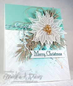 Sweet 'n Sassy Poinsettia (White embossing on vellum), Christmas Silhouettes (sentiment), and Grunge Elements stamp sets with IO Pine Branch die in kraft)