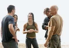 Lost cast behind the scenes 2.15 'Maternity Leave'. | Evangeline Lilly Michelle rodriguez Matthew fox josh Holloway terry o'quinn