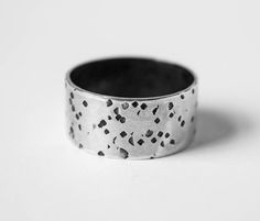 Dimpled texture silver band, hammered silver ring, wedding band, unisex jewellery, size Q by boutiqueboheme on Etsy
