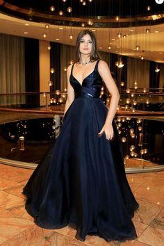 5b85117052 A-Line V-Neck Dark Blue Sleeveless Satin Floor-Length Sweep Train Prom  Dresses