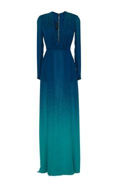 Blue Degrade Double Silk Georgette Dress by Elie Saab for Preorder on Moda Operandi