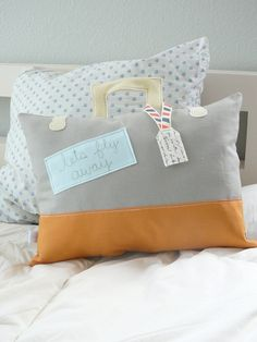 Lets Fly Away  Suitcase Stuffed Pillow by OliveHandmade on Etsy, $40.00