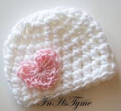 Crochet Baby Girl Valentine Heart Hat Newborn 0-3 and 3-6 Months White Pink Photography Prop. $11.50, via Etsy.