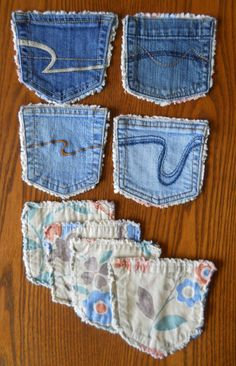 Recycled Denim Pocket Coasters (replace pockets on girls' jeans w/ patterned fabric) Jean Crafts, Denim Crafts, Small Quilts, Mini Quilts, Sewing Crafts, Sewing Projects, Quilted Coasters, Denim Ideas, Mug Rugs