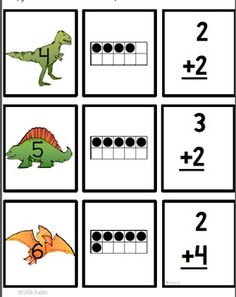 ADDITION TRIPLE MATCH GAME:  Addition triple match game is a fun way for your students to practice math facts. Students will match three cards that show an addition problem, an answer written on a dinosaur themed card, and ten frame or twenty frame. You can easily differentiate this game. paid