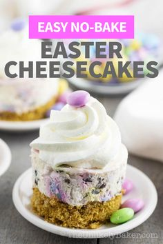 These mini Easter cheesecakes are the perfect Easter dessert. You can make them ahead, no baking required, they're so easy to make! Plus they are packed with everyone's favourite M&M chocolate. They're a hit with kids and adults alike. Follow along with the step-by-step photos and video instructions. #easyrecipe #nobakecheesecake #nobakedessert #easterdessert Easter Cheesecake, No Bake Cheesecake, Cheesecake Recipes, Cookie Recipes, Easter Food, Easter Recipes, New Recipes, No Bake Desserts, Healthy Desserts