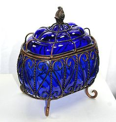 Large Cobalt Blue Glass Compote Box Glass and Wire Basket Wire Decor Table Decor Outdoor Patio Decor Colored Glass Royal Blue Copper