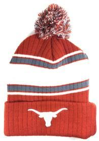 BROWN UNIVERSITY OF TEXAS LONGHORNS STRIPED POM BEANIE KNIT WINTER HAT CAP LOGO S-VarietyStore Brown University, University Of Texas, Mens Winter Beanies, Winter Hats, Texas Longhorns, Cap, Clothes For Women, Logo, Knitting