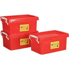 Stackable Storage Red Tubs With Locking Lids - Medium