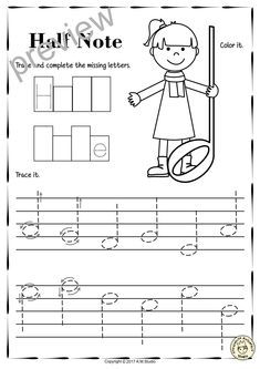 A set of 17 music worksheets is created to help your students learn to trace, copy, color and draw symbols, notes and rests commonly used in music. Practice in copying them onto their positions on the staff is provided in a large size. #elmused #music #musicworksheets #musiceducation #musictracingworksheets #AMStudio