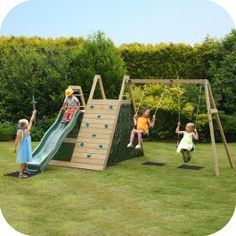 Plum® Climbing Pyramid Wooden Climbing Frame Outdoor Play Centre with Swings, Play Den and Slide