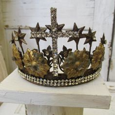 French statue crown tiara rusted embellished brass Santos inspired piece adorned with salvaged items anita spero